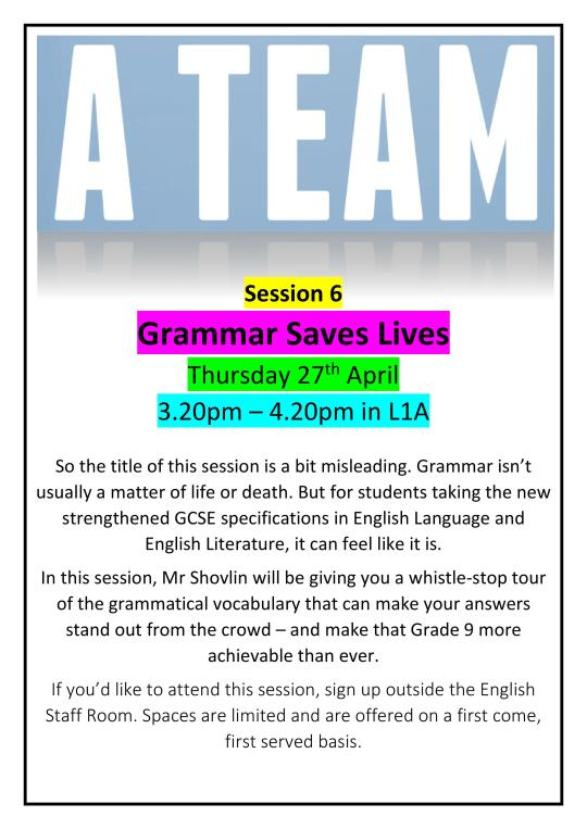 A Team Poster - Grammar Saves Lives
